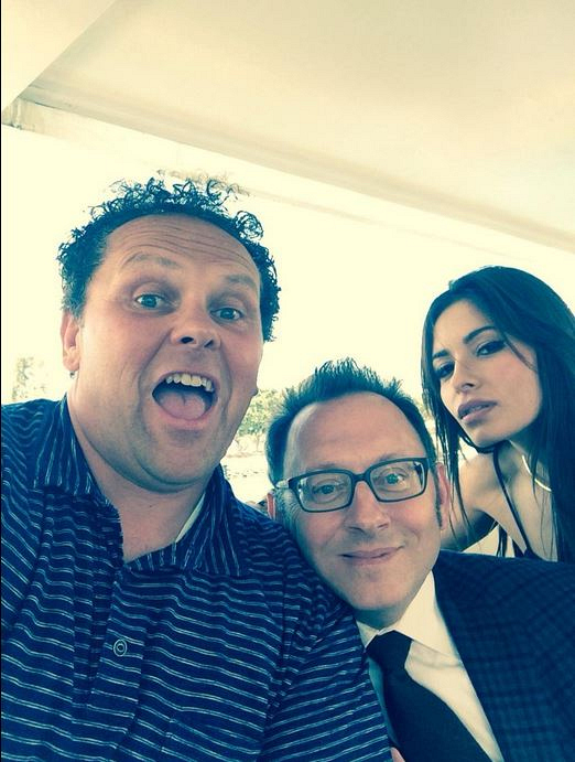 Kevin Chapman, Michael Emerson and Sarah Shahi goof off