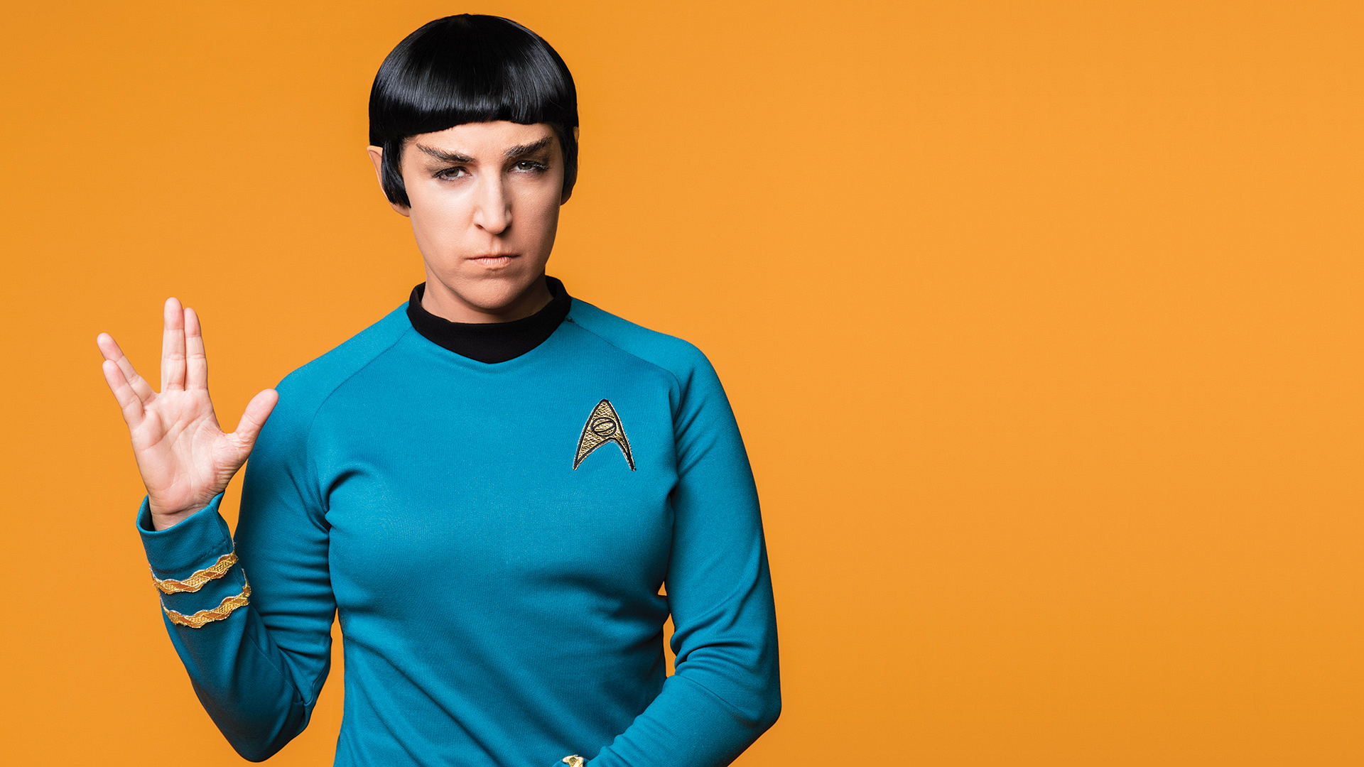Mayim Bialik in a classic Star Trek look