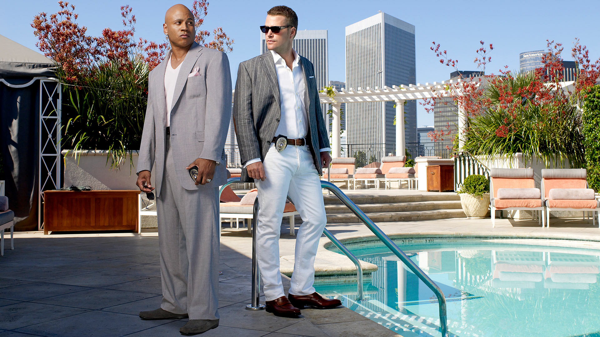 NCIS: Los Angeles detective duo LL COOL J and Chris O'Donnell are poolside chillin'.