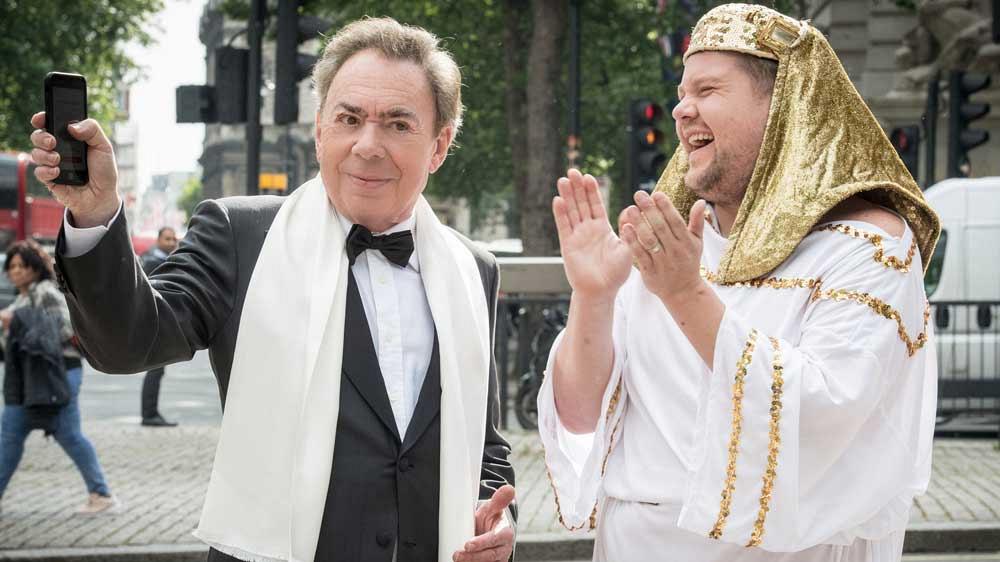Andrew Lloyd Webber tries James Corden's airhorn app.