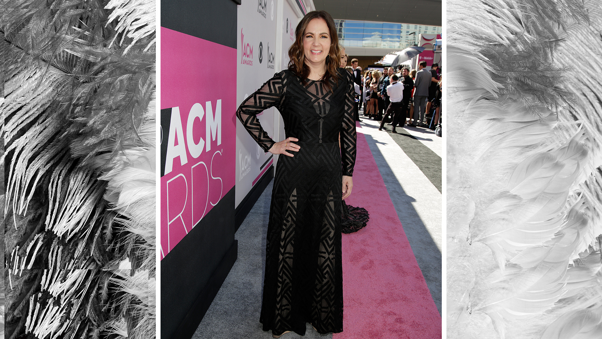 Songwriter Lori McKenna is beautiful in black with geometric-patterned lace accents.
