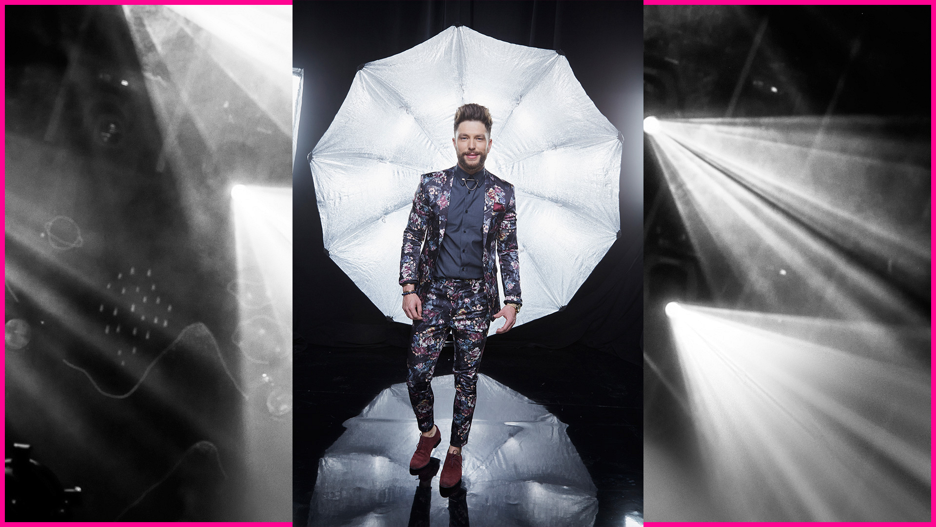 Country star Chris Lane is ready to stop Vegas traffic in this eye-catching floral suit.