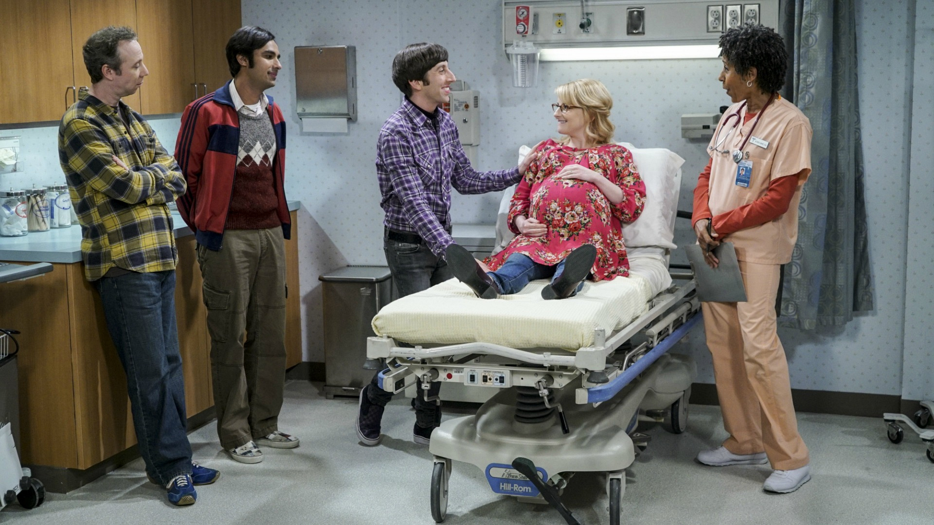 Bernadette, Howard, Stuart, and Raj rush to the hospital anticipating the newest addition to the gang.