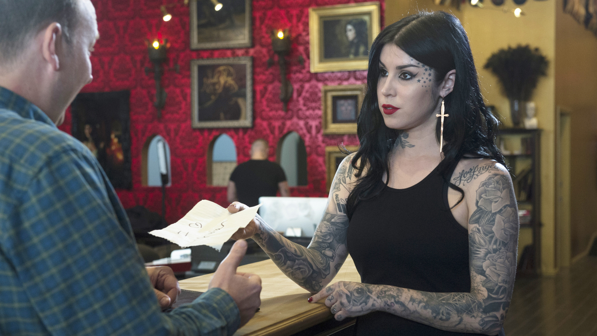 "Kat Von D in ""Tattoo Valentine Guitar Pregnant"""
