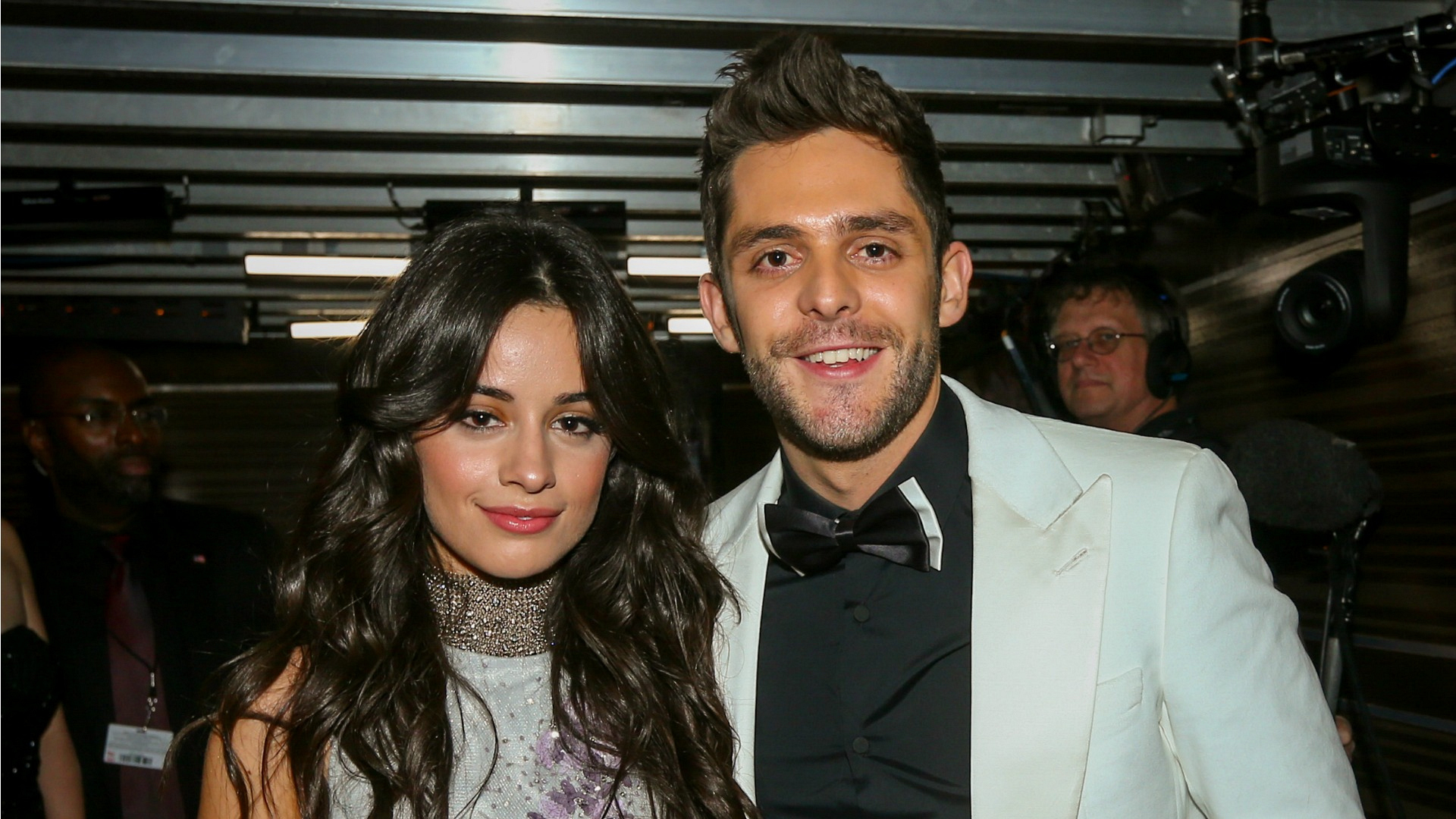 Singer Camila Cabello poses with country star Thomas Rhett after presenting the GRAMMY Award for Best Country Solo Performance.