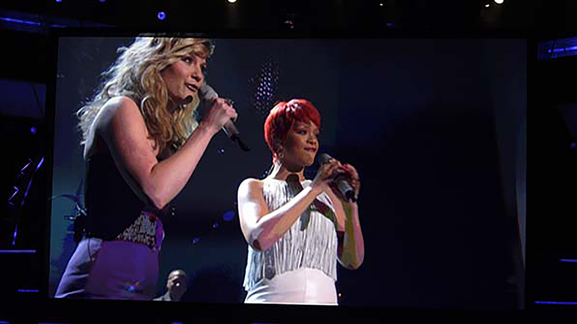 "4. Jennifer Nettles and Rihanna perform ""California King Bed"" at the 46th ACM Awards in 2011."