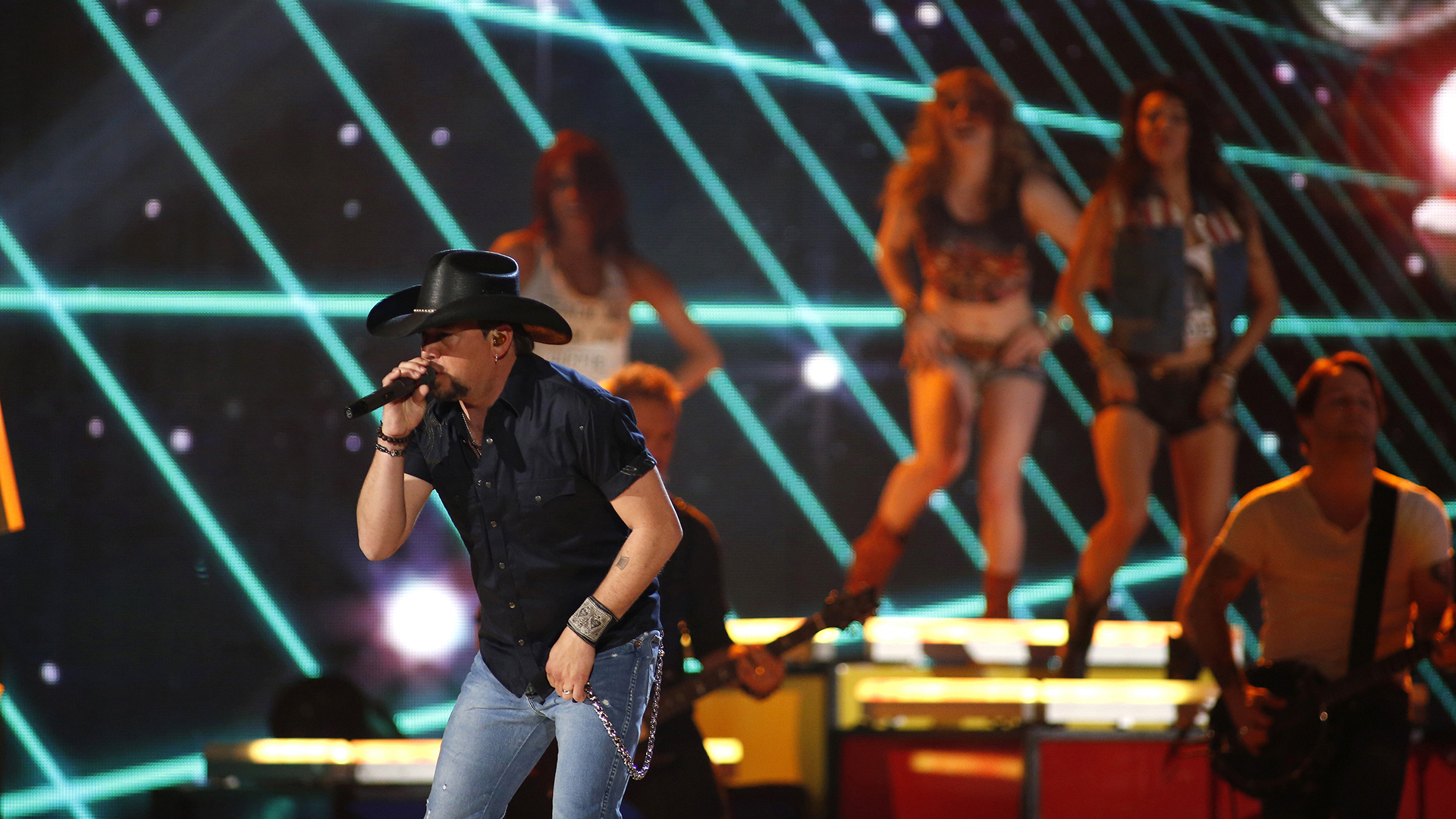 "25. Jason Aldean performs ""1994"" at the 48th ACM Awards in 2013."