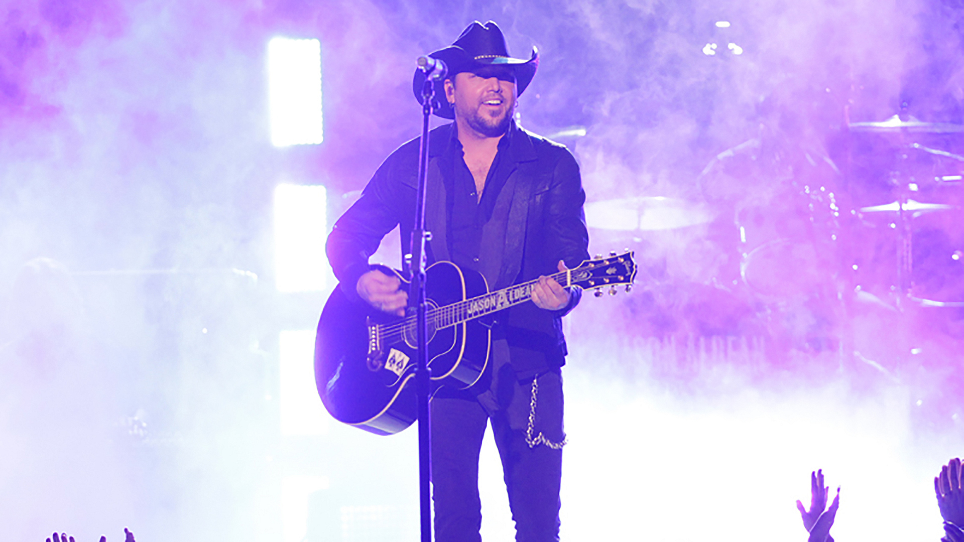 "27. Jason Aldean performs ""When She Says Baby"" at the 49th ACM Awards in 2014."