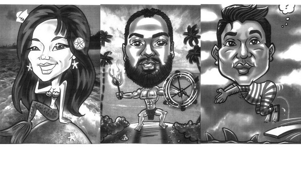 Caricatures displayed by Hirsch on his first meeting with Five-0 are of Darrell Tachibana, Derrick Kaupiko, and Christina Lee, three Hawaii Five-0 set decoration team members.