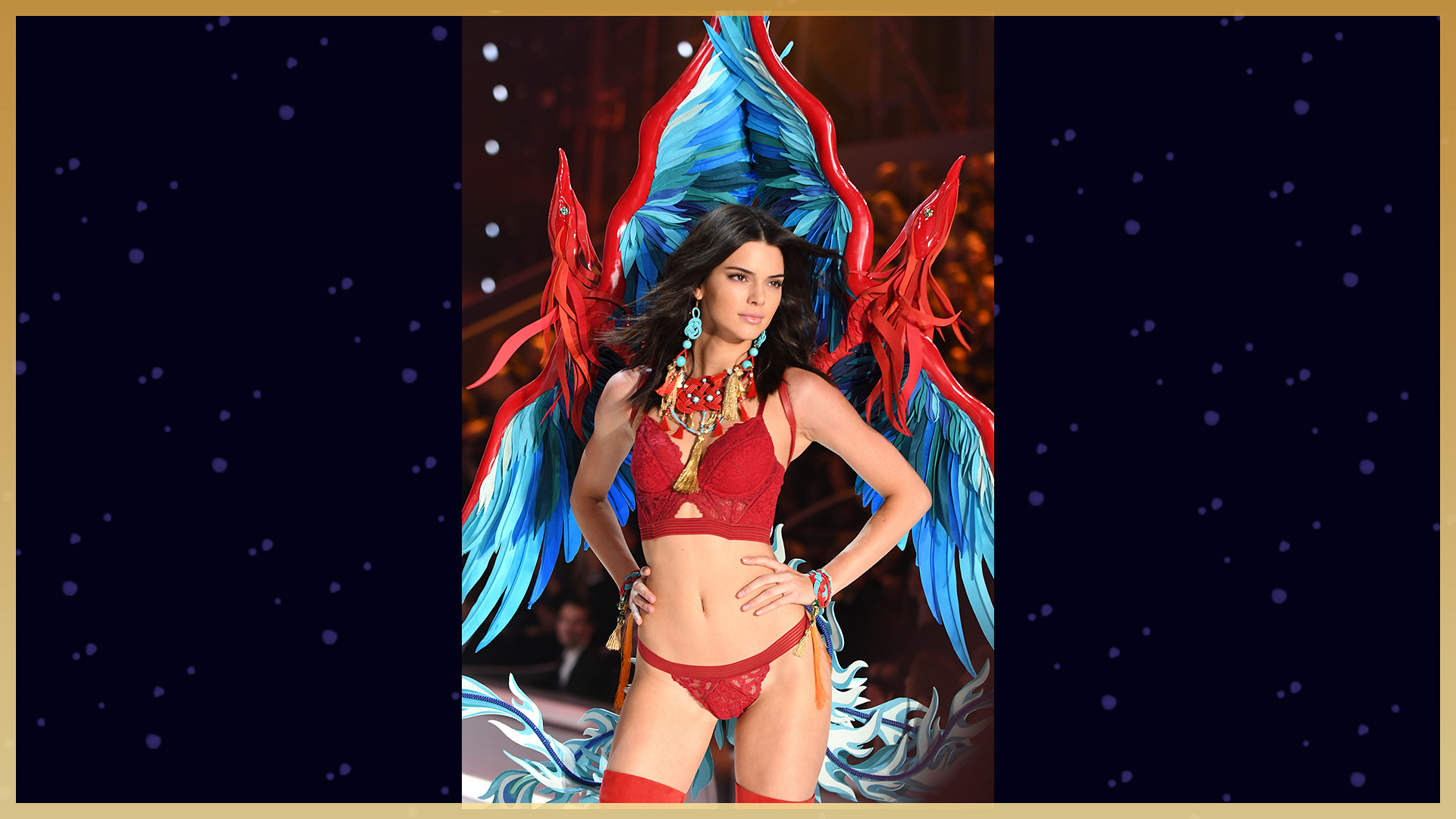 Kendall Jenner's red and turquoise wings
