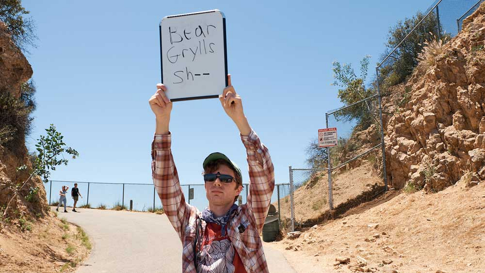 Show writer Nate Fernald gives James Corden a very important note while on location with Chris Pratt.