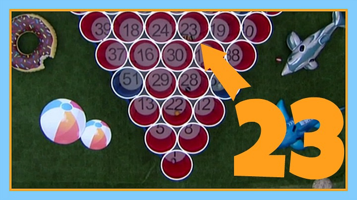 "What number caused a three-way tie in the ""Gronk Pong"" HoH competition? Answer: 23"