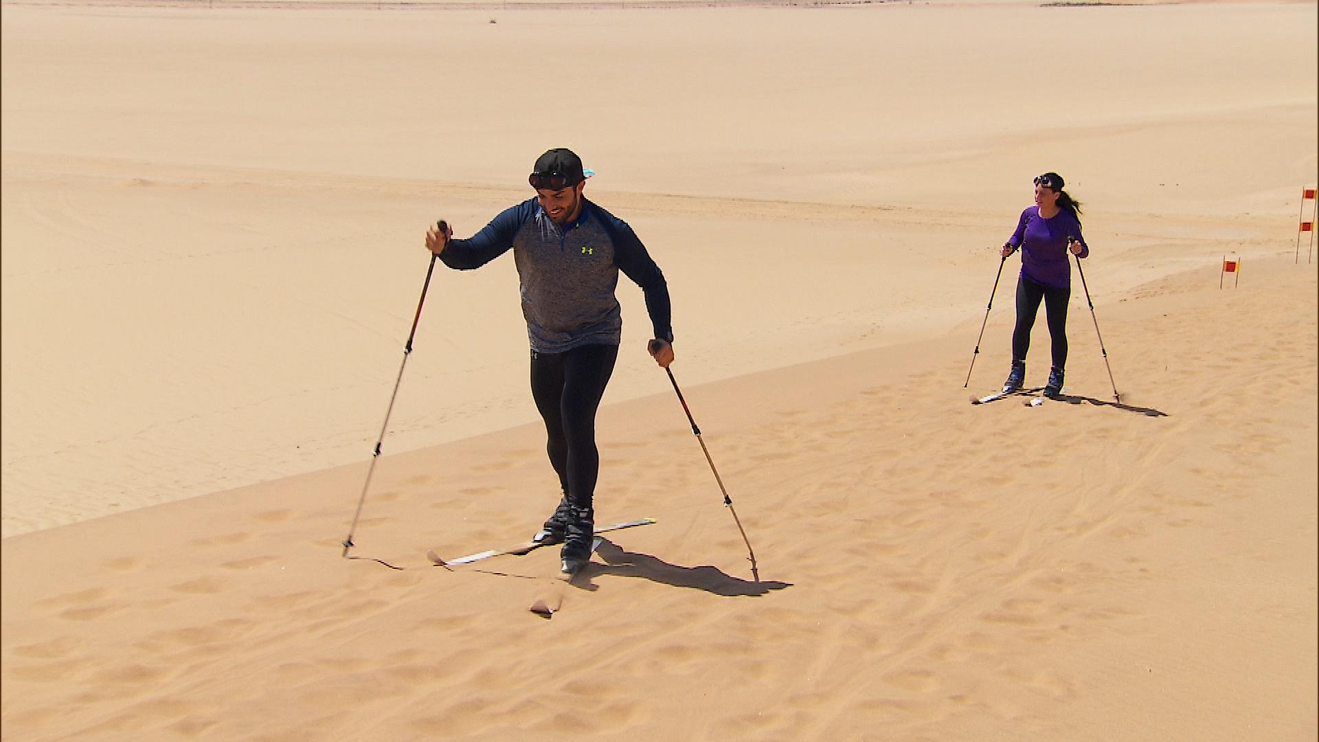 Skiing... on sand