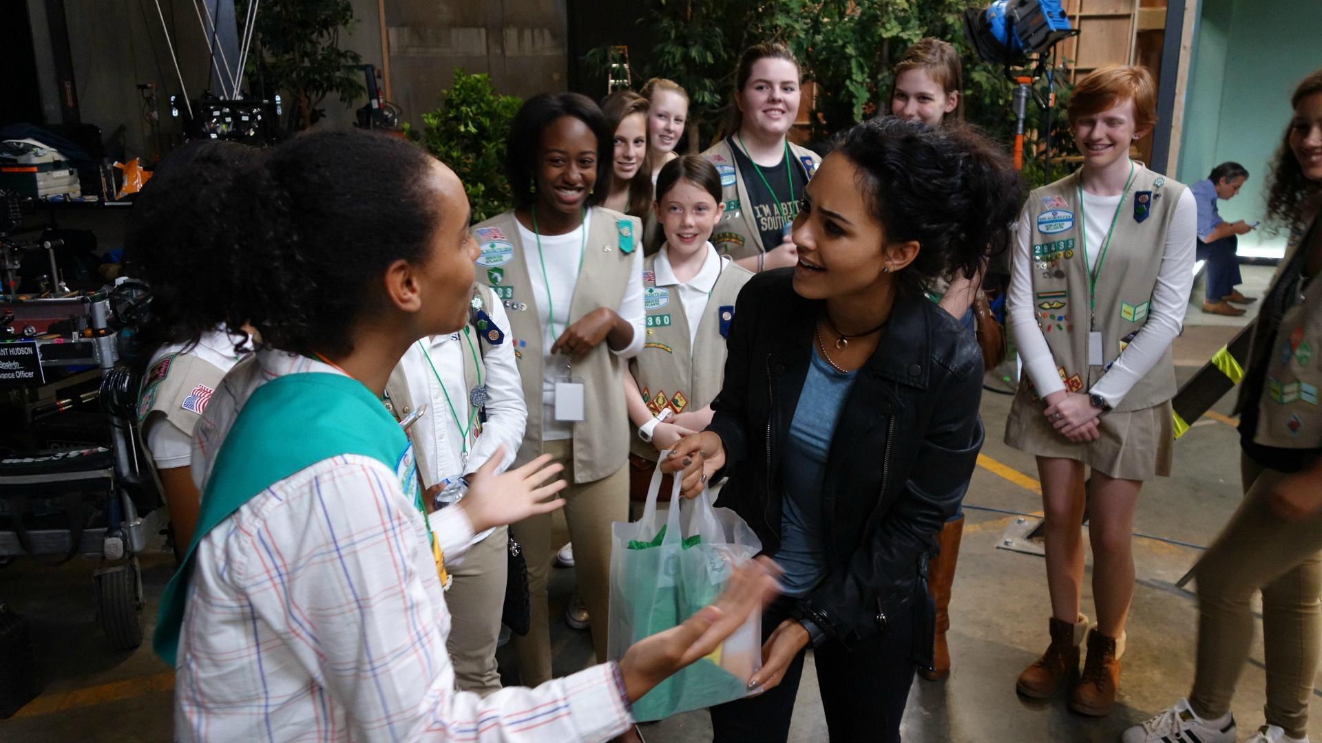 Tristin Mays meets fans.