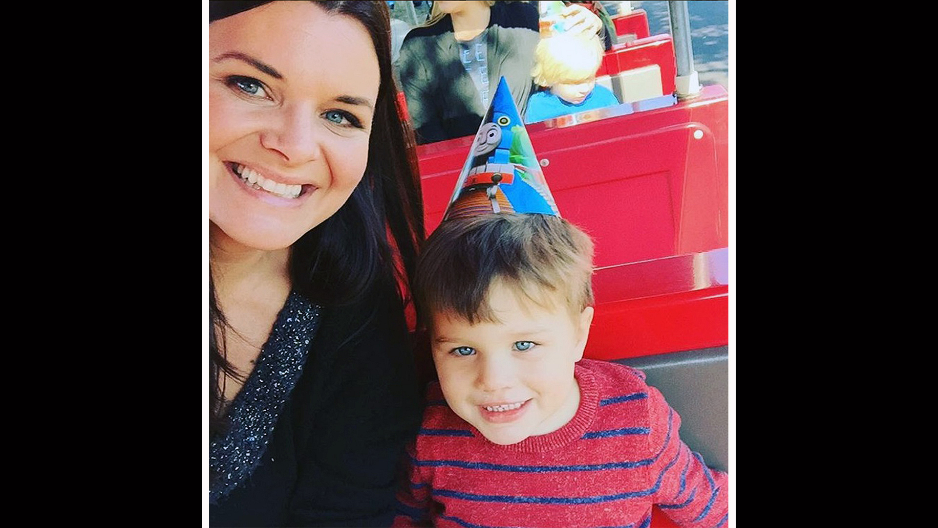 Heather Tom and her son, Zane, look cute as can be in their party gear.