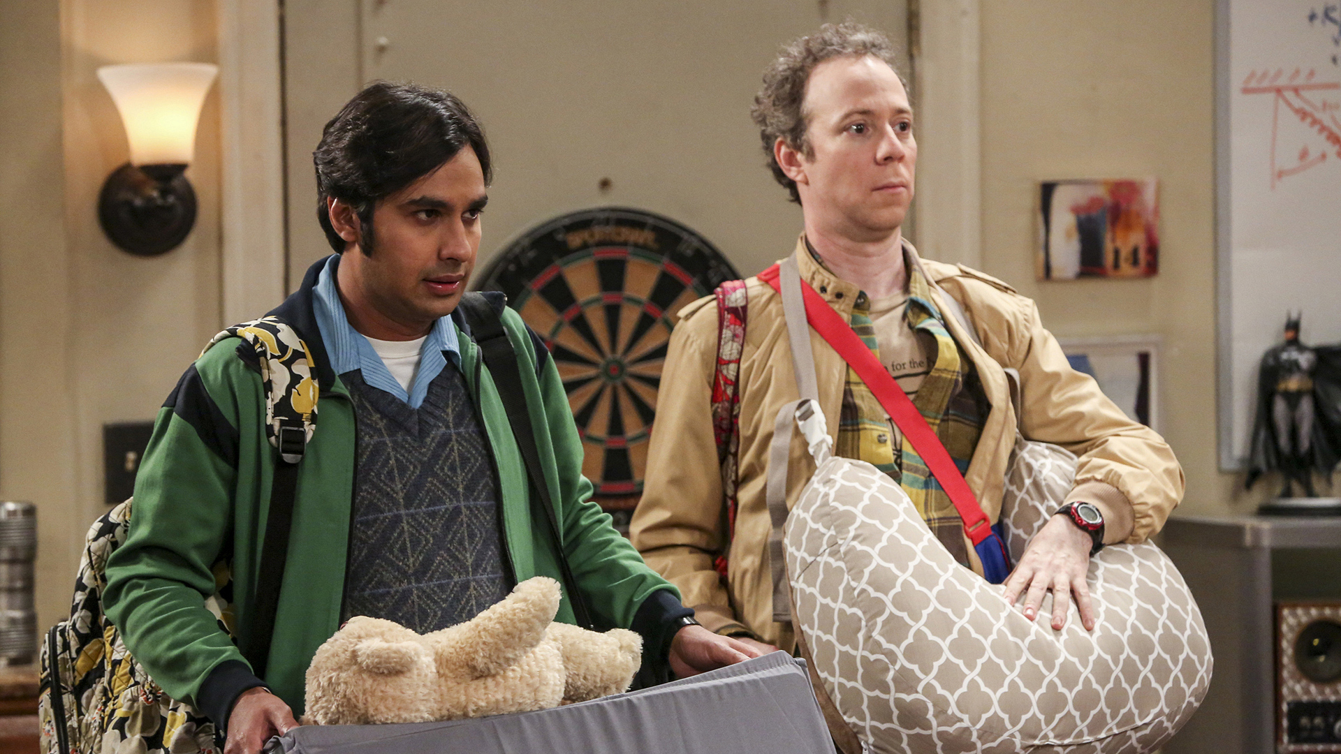 "Raj and Stuart act as Halley's ""Doubtfire"" and ""Poppins."""