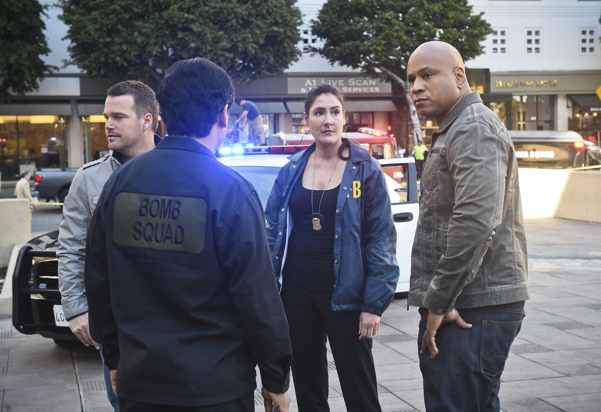 Chris O'Donnell as Special Agent G. Callen, Alicia Coppola as FBI Senior Special Agent Lisa Rand, and LL COOL J as Special Agent Sam Hanna