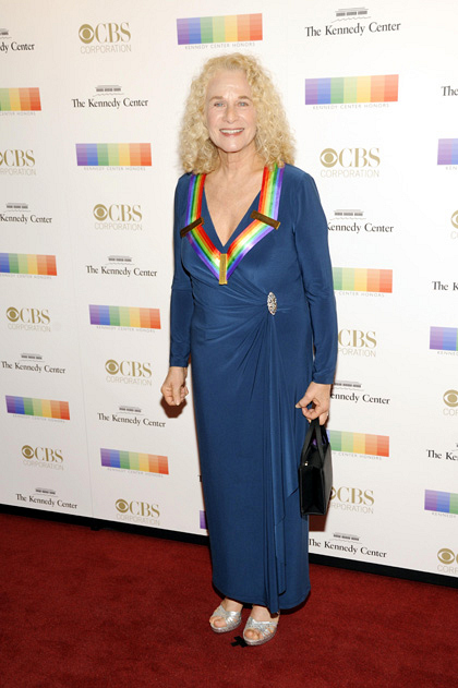 Singer/songwriter Carole King is hardly bashful in blue.