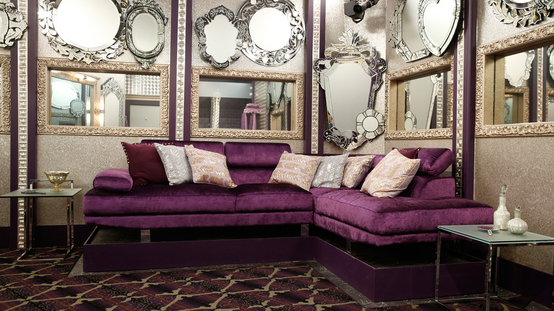 Shades of purple and silver give this room a most sophisticated touch.