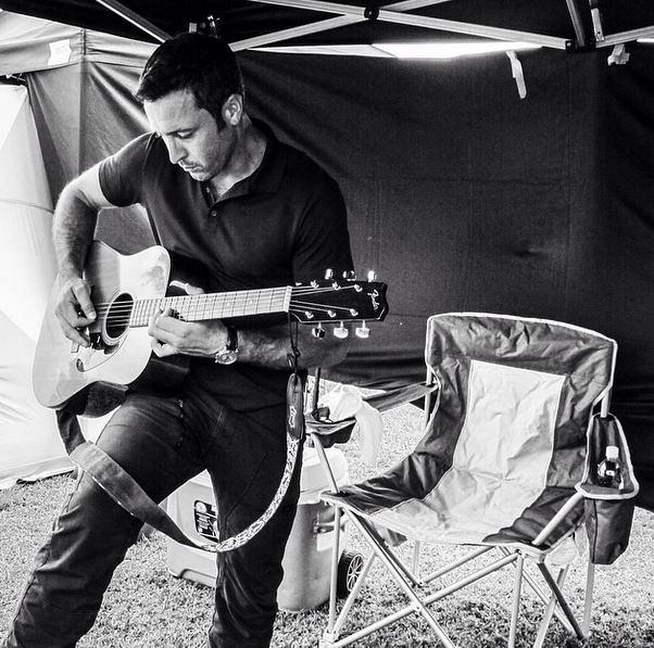 Hawaii Five-0 Instagram: Alex showing off his guitar skills in the cast tent #CBSInstagramTakeover @rachelcerettophotography