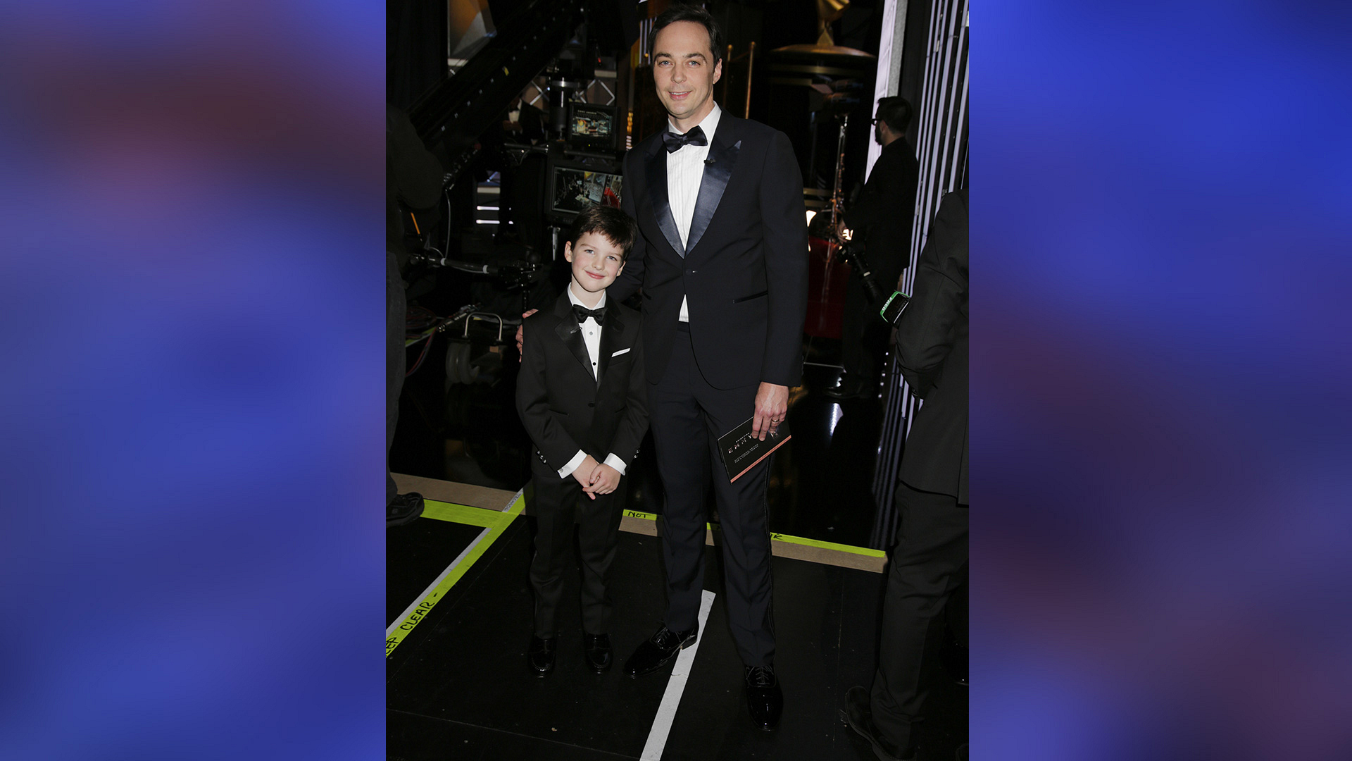 Young Sheldon star Iain Armitage and executive producer Jim Parsons show off their sleek—and similar—Emmy looks.