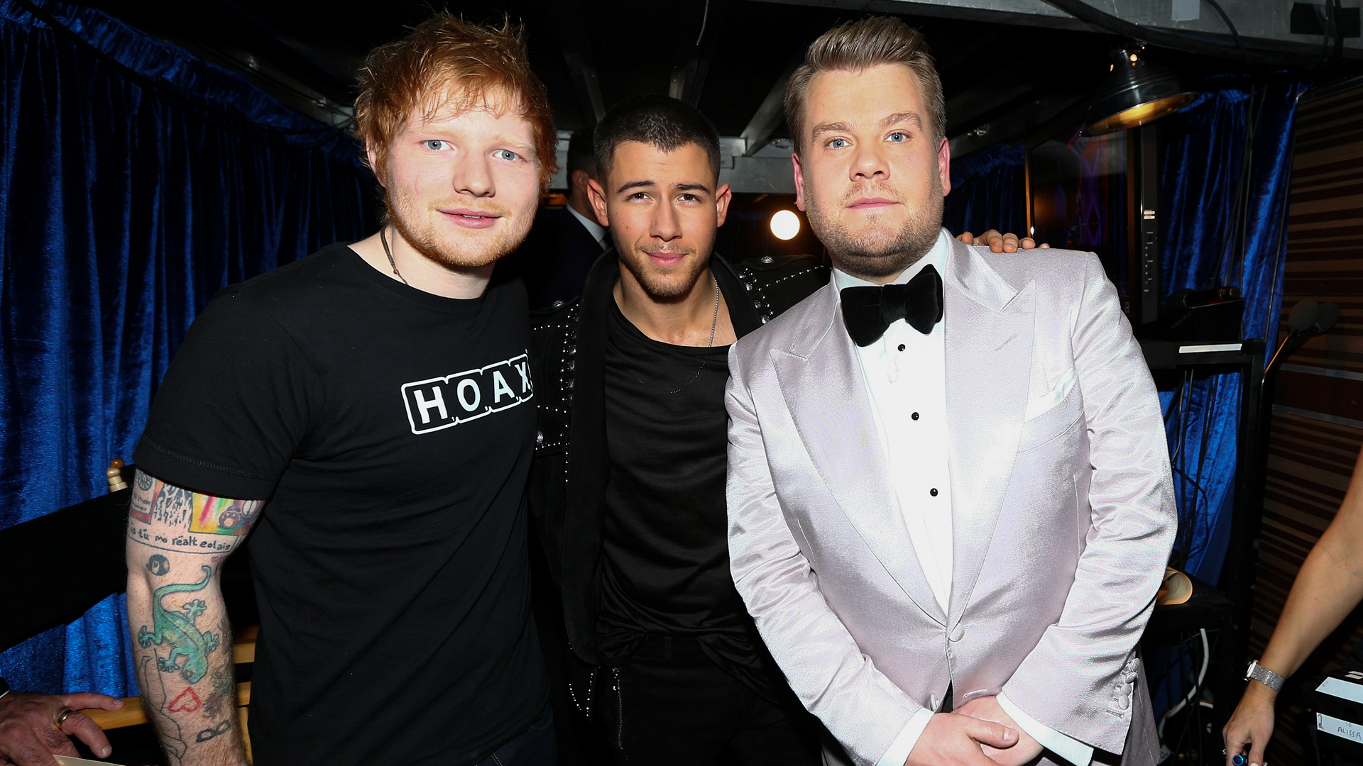 Ed Sheeran and Nick Jonas join 2017 GRAMMY host James Corden backstage.