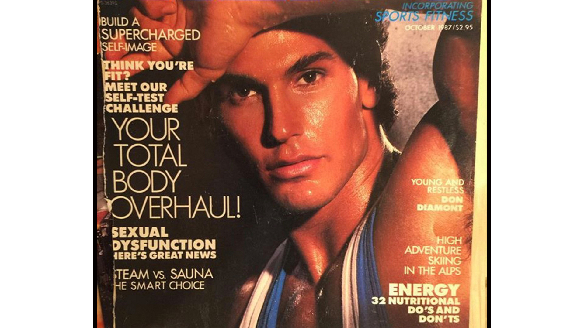 Long-time athlete Don Diamont smoldered on the cover of a fitness magazine.