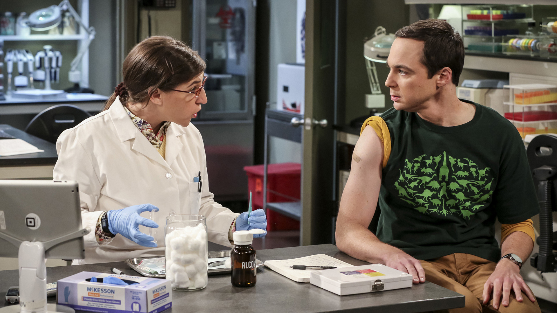 Sheldon hates needles, which comes as no surprise.