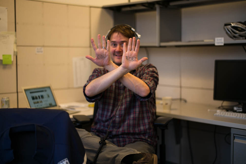 Writer Michael Brumm, showing his jazziest boss-hands.