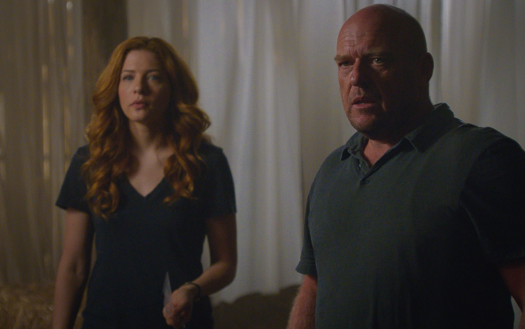 "Rachelle Lefevre as Julia Shumway and Dean Norris as James ""Big Jim"" Rennie."