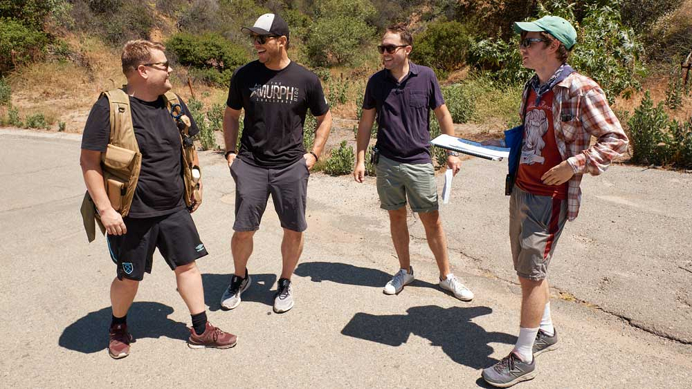 James Corden, Chris Pratt, Rob Crabbe, and Nate Fernald talk about hiking and loving short pants.