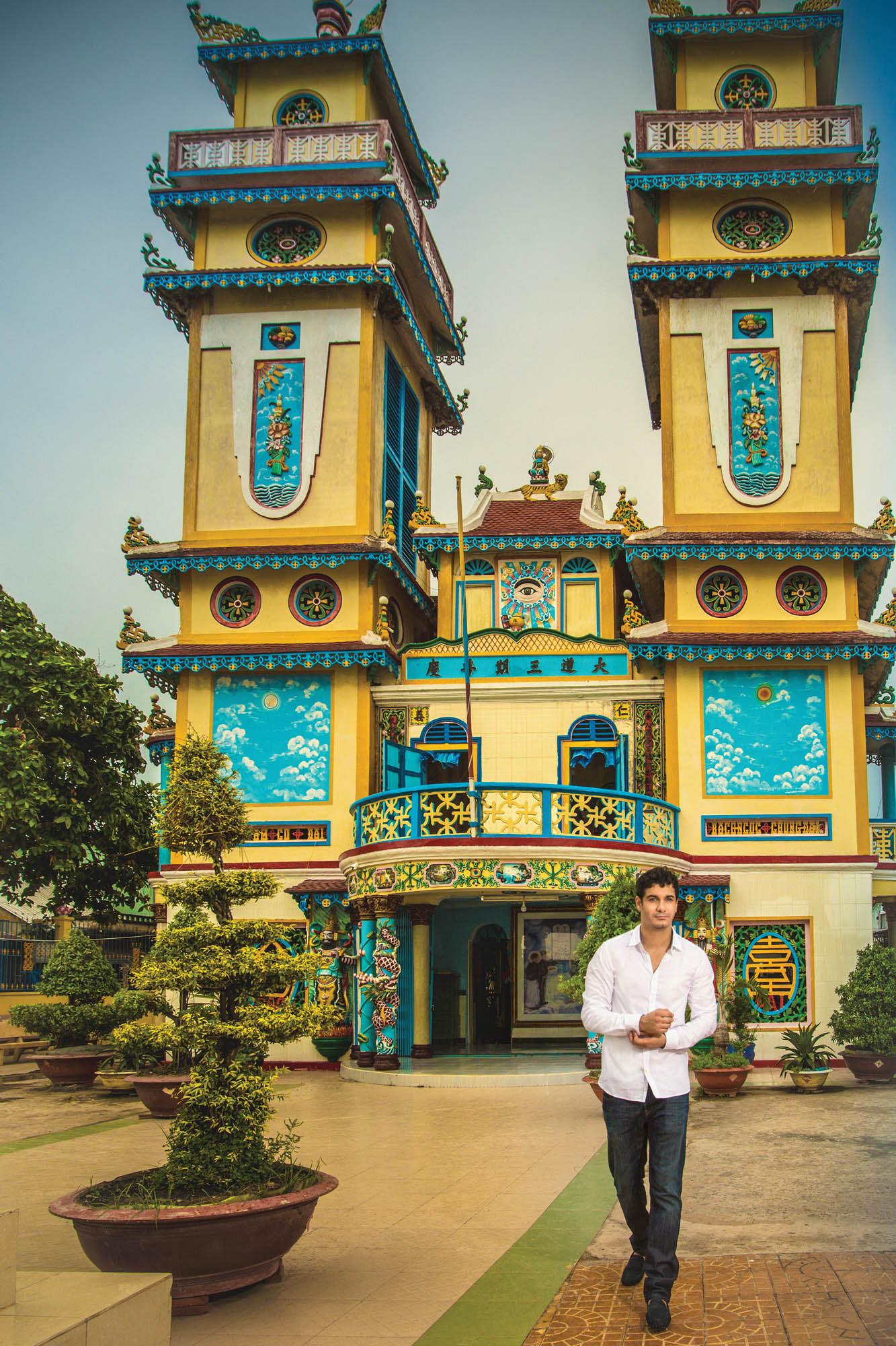 Outside the vibrant Long Son temple in Chau Doc, Vietnam