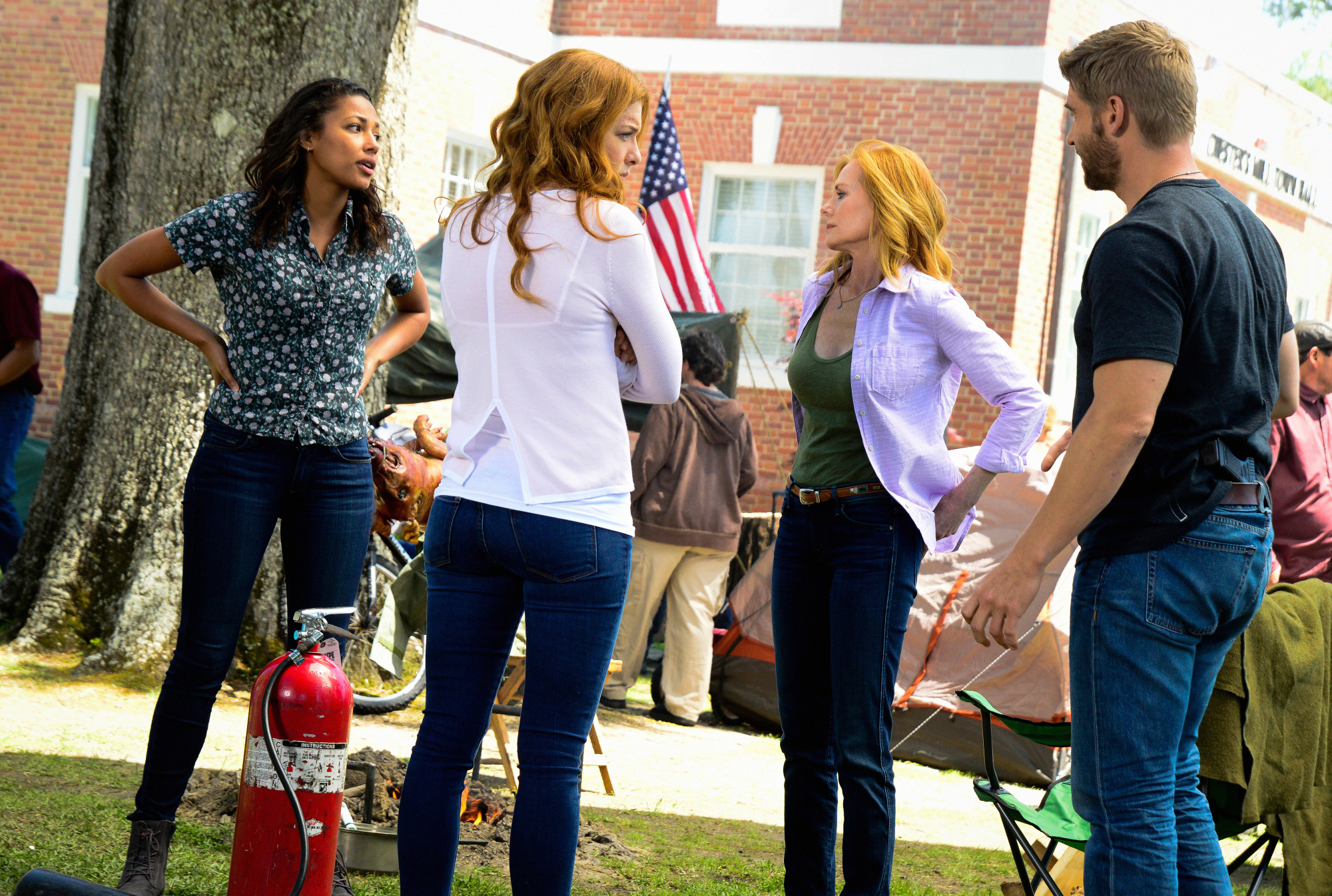 "Kylie Bunbury as Eva Sinclair, Rachelle Lefevre as Julia Shumway, Marg Helgenberger as Christine Price, and Mike Vogel as Dale ""Barbie"" Barbara."