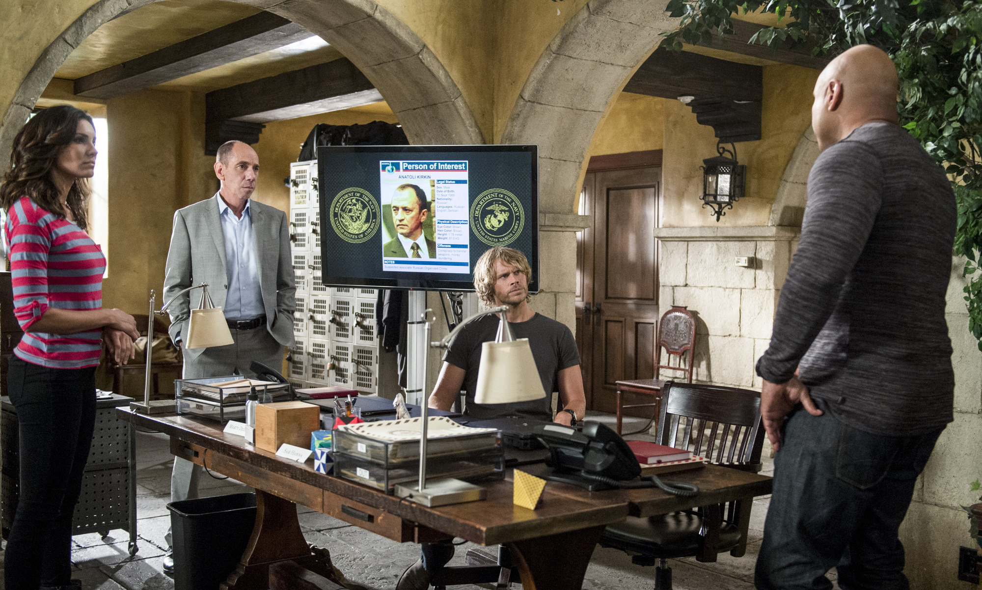 Daniela Ruah as Special Agent Kensi Blye, Miguel Ferrer as NCIS Assistant Director Owen Granger, Eric Christian Olsen as LAPD Liaison Marty Deeks, and LL COOL J as Special Agent Sam Hanna.