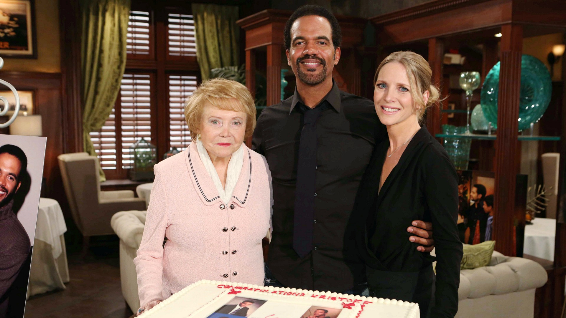 Kristoff St. John poses with Lee Phillip Bell and Lauralee Bell for his 25th anniversary party.