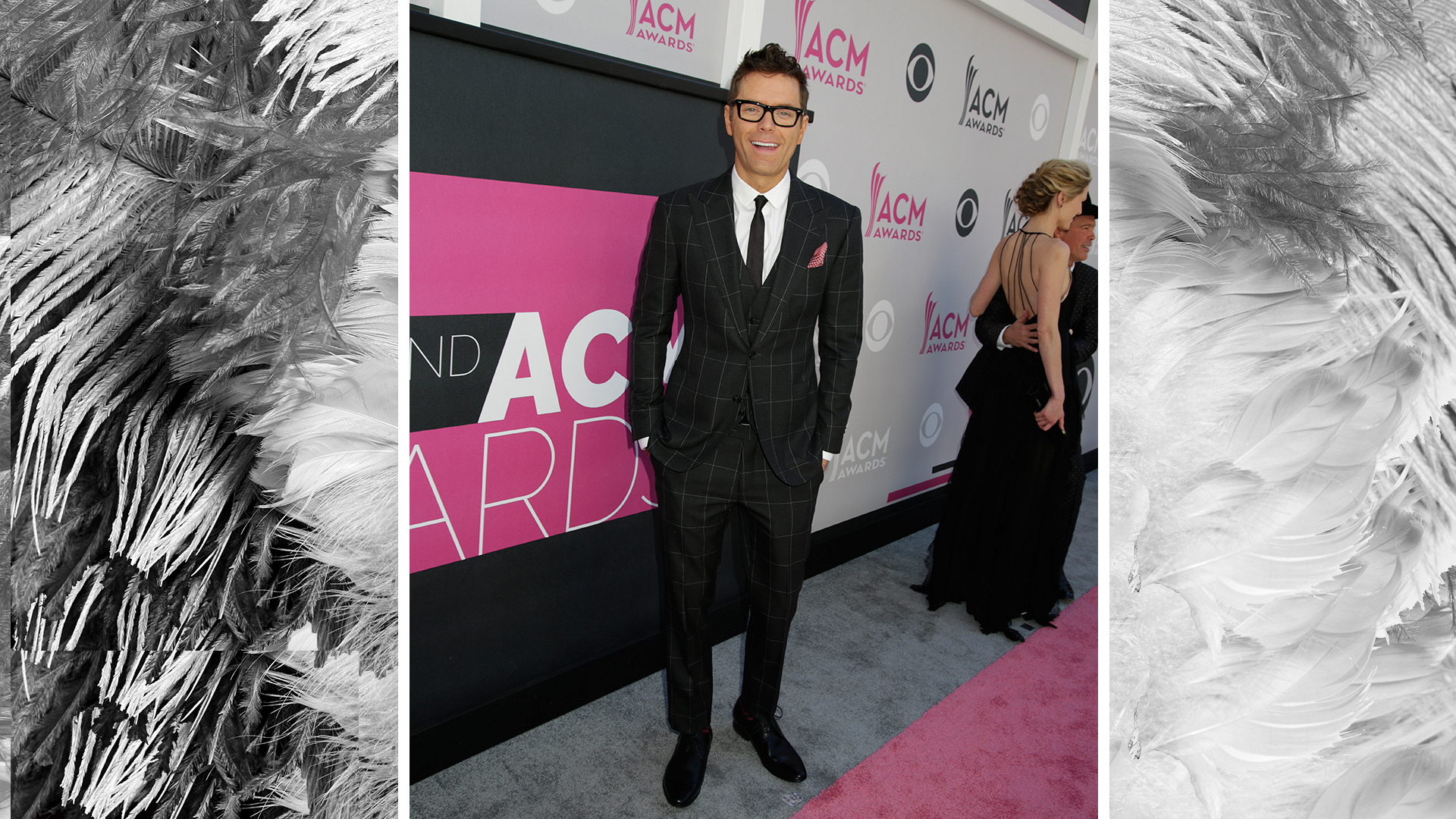 iHeartRadio personality Bobby Bones sports a polished suit at the 52nd ACM Awards.