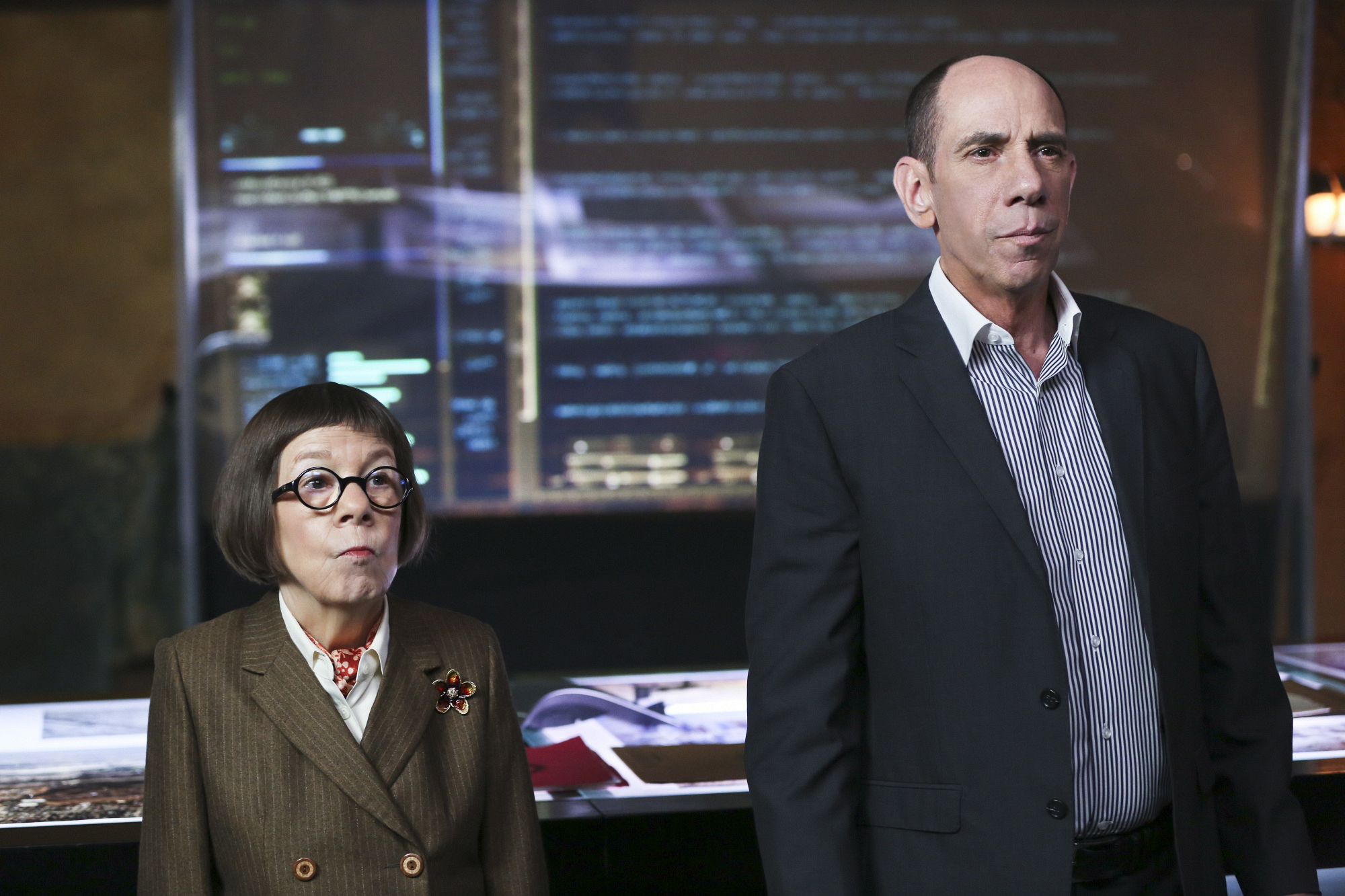"Linda Hunt as Henrietta ""Hetty"" Lange and Miguel Ferrer as NCIS Assistant Director Owen Granger"
