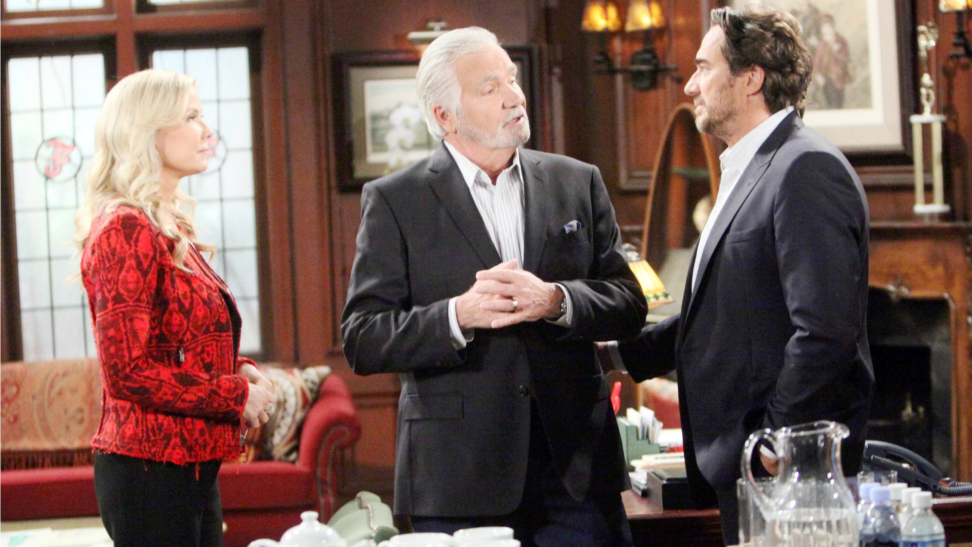 Eric, Ridge, and Brooke relish in the fact that things are on the uptake for the Forrester family.
