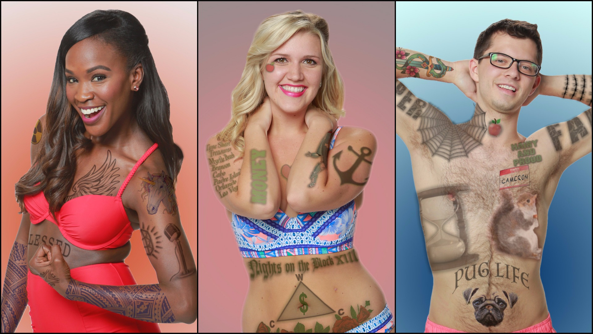 BB19 evictees Dominique, Jillian, and Cameron flaunt some funny and fierce tattoos