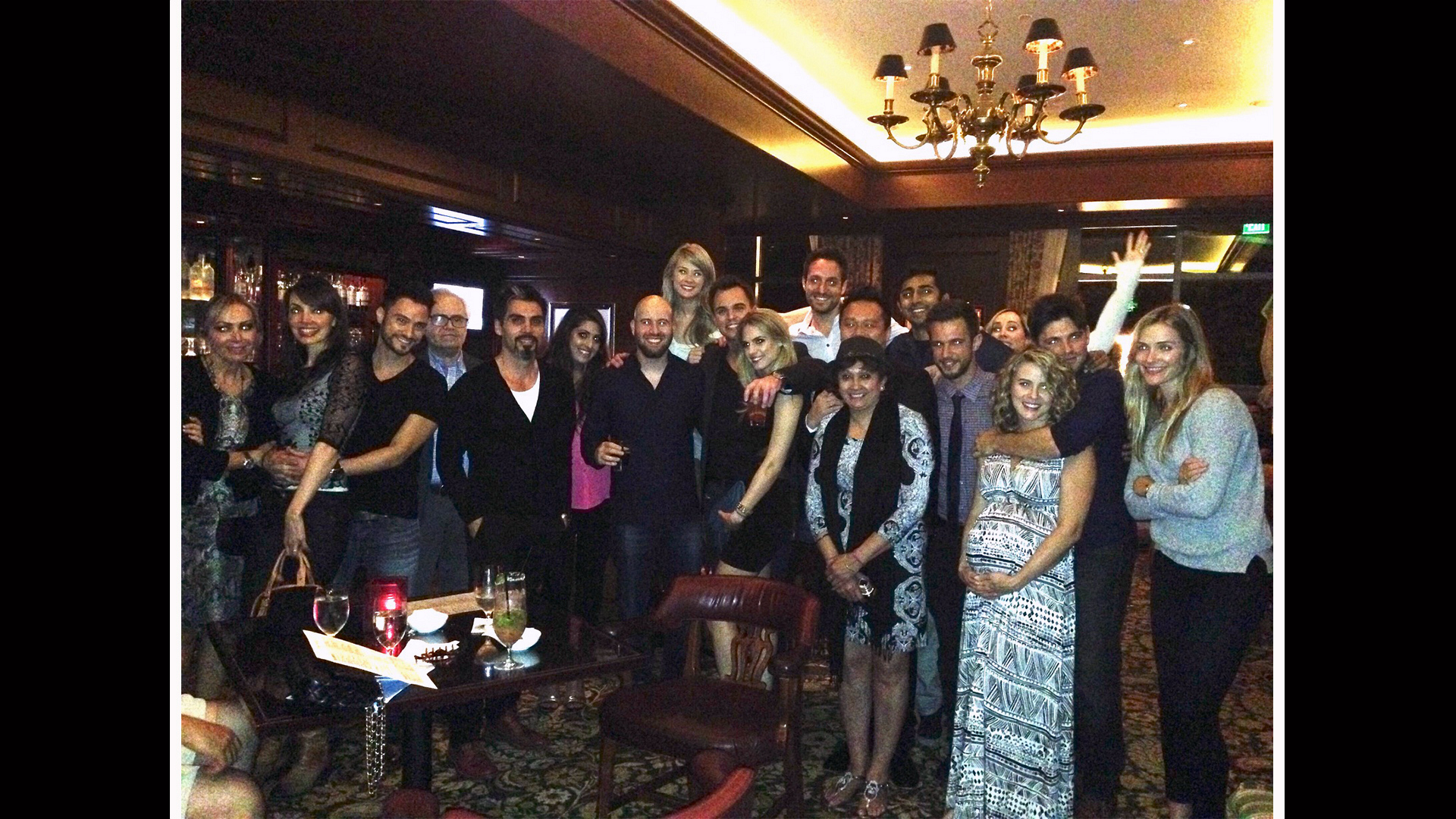 Darin Brooks rings in his 30th birthday surrounded by friends.
