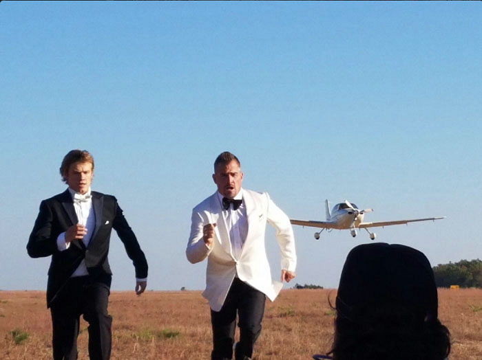 Just a typical Watch! photo shoot with Lucas Till and George Eads.