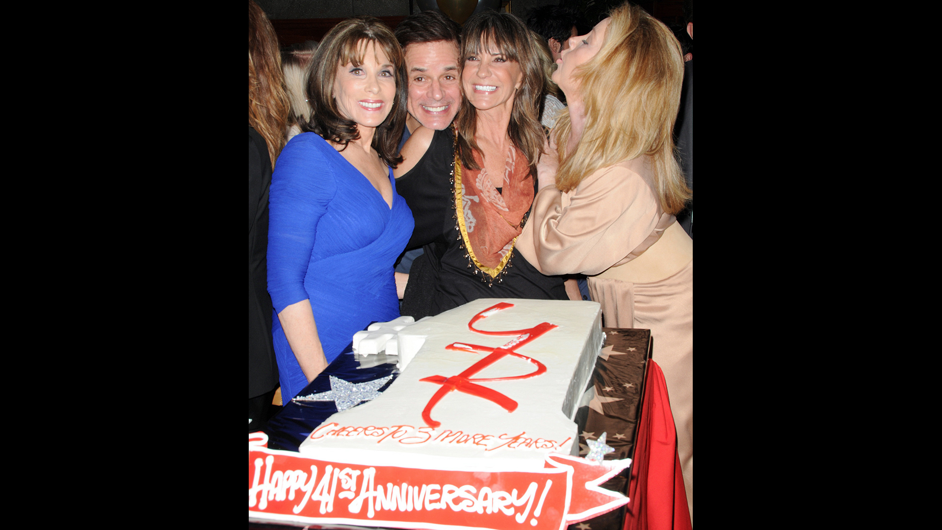 Kate Linder, Christian Le Blanc, Jess Walton, and Melody Thomas Scott party on the 41st Y&R anniversary.