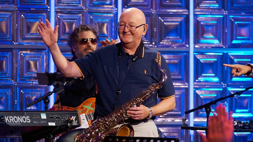James Corden's dad, Malcolm, uses his connections to sit in with the band.