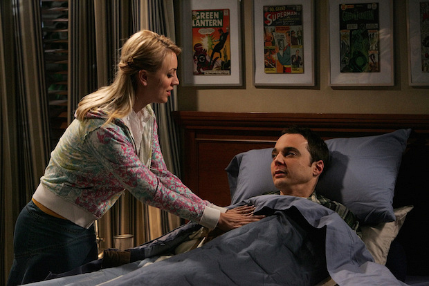 "Penny singing ""Soft Kitty"" to Sheldon"