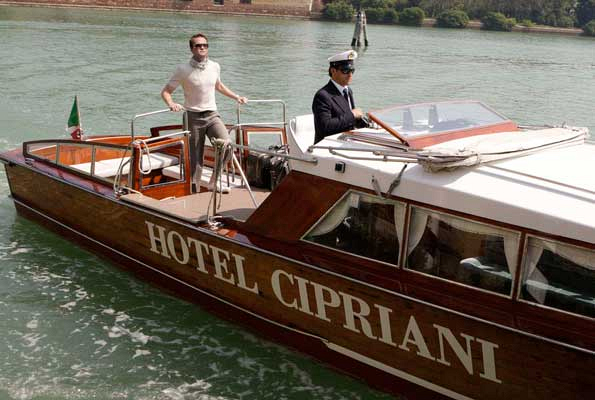 Neil Patrick Harris aboard Hotel Cipriani's water taxi in Venice, Italy. Photographed by Cliff Lipson for the August 2009 issue