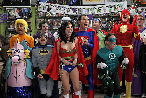 Question: Who does Sheldon dress up as for the New Year's Eve party at the comic-book store?