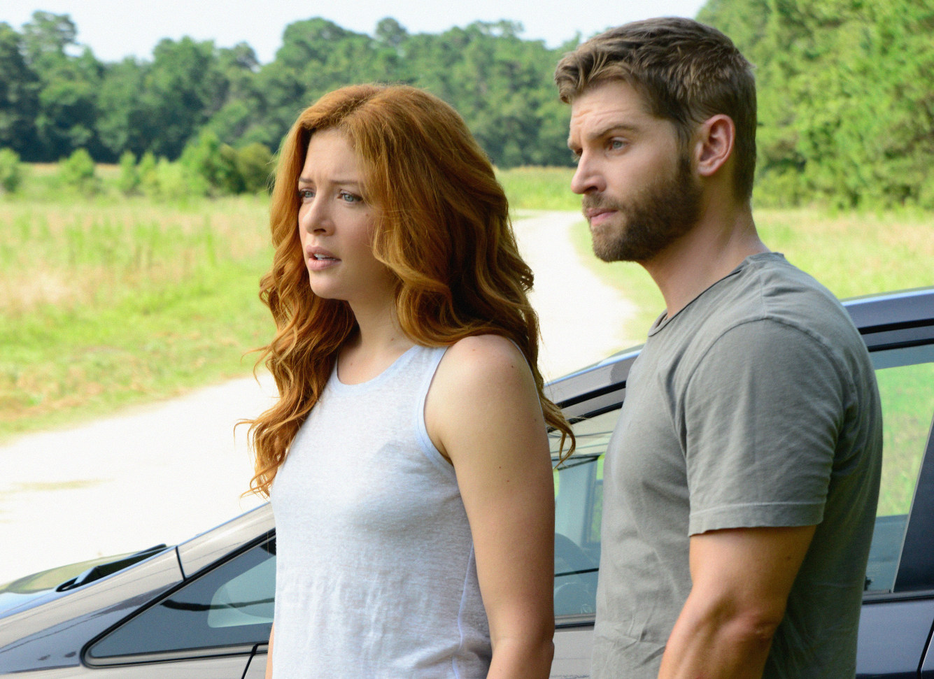 "Rachelle Lefevre as Julia Shumway and Mike Vogel as Dale ""Barbie"" Barbara."