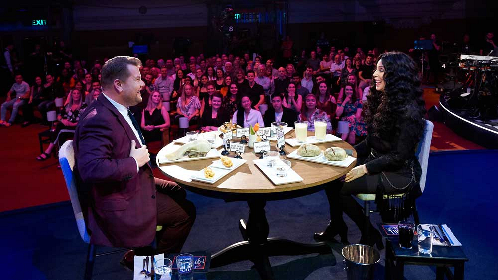 This is what it's like to be at a table with James Corden and Cher, in front of a theater of people.