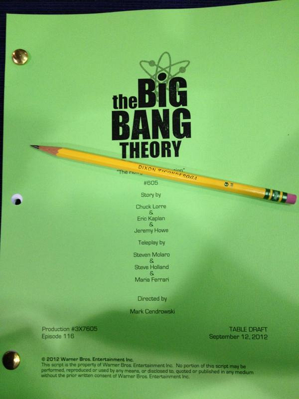 The Big Bang Theory script shot