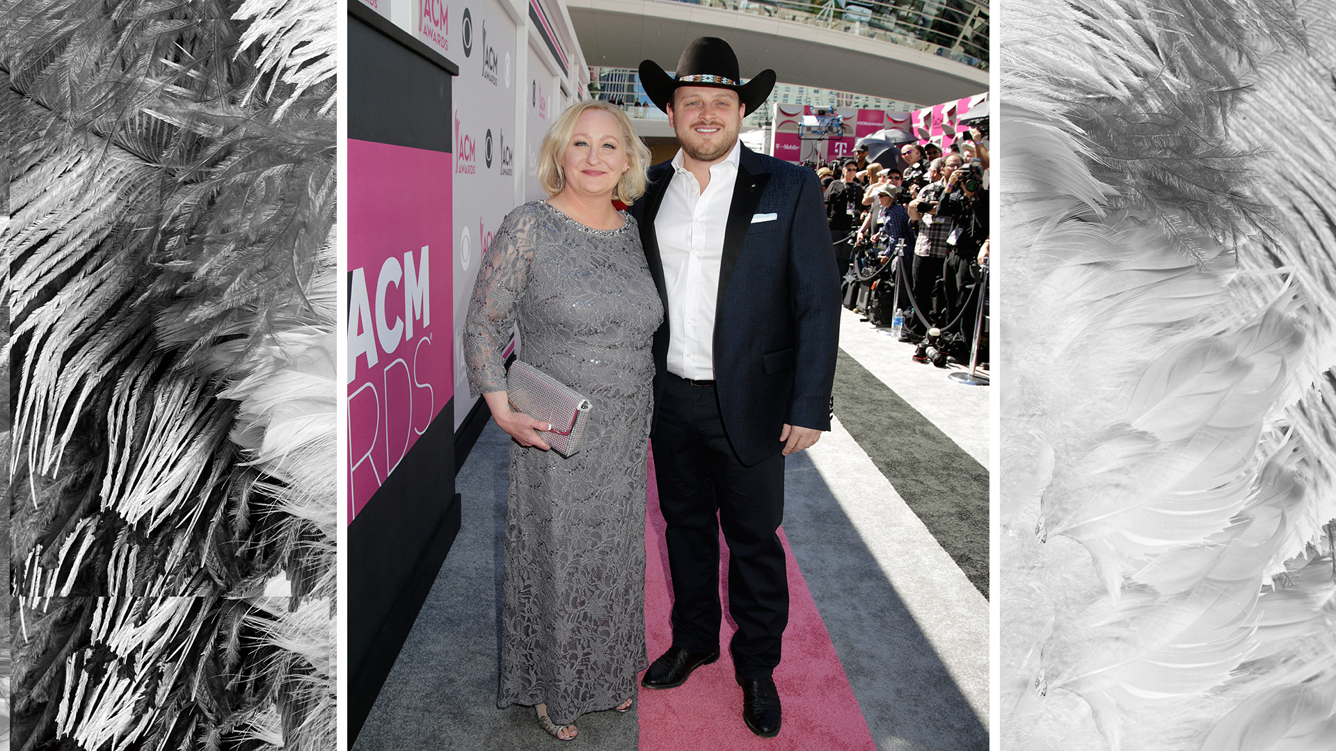 Josh Abbott poses next to his mother, Lynette.
